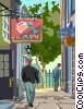 Vector Clipart picture  of a London sidewalk scene