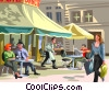 Vector Clipart illustration  of a Paris street cafe