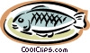fish on plate Vector Clip Art picture