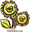 Sunflower plant Vector Clipart illustration
