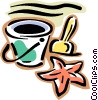 pail, shovel, star fish Vector Clip Art picture