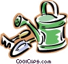watering can with gardening tools Vector Clip Art picture