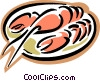 lobster on plate Vector Clip Art picture