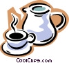 coffee pot with cup of coffee Vector Clip Art graphic