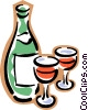 bottle of wine with two glasses Vector Clipart illustration