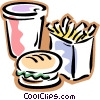 fast food, drink, fries, hamburger Vector Clip Art image