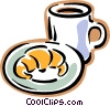 Vector Clipart illustration  of a croissant with cup of coffee