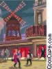 Moulin Rouge nightclubbing in Paris Vector Clipart graphic
