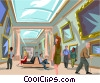 Vector Clip Art picture  of a viewing pictures in Louvre art