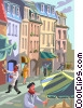 Paris street vendors Vector Clip Art graphic