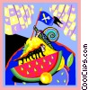 Vector Clip Art graphic  of a bugs on watermelon
