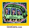 Vector Clip Art graphic  of a bus with passengers