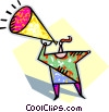 Vector Clipart image  of a person speaking into megaphone