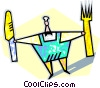 chef with fork and knife Vector Clip Art image