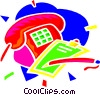 telephone, pad and pencil Vector Clip Art graphic