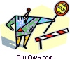 Vector Clipart graphic  of a construction worker with stop