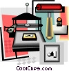 Vector Clip Art graphic  of a printer press