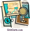 geography motif with compass, map, globe Vector Clipart picture