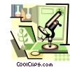 science laboratory with microscope Vector Clipart illustration