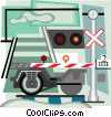 Vector Clip Art picture  of a train crossing