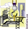 Vector Clip Art image  of a construction site