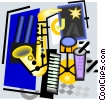 saxophone, keyboard, drums Vector Clip Art graphic