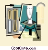 sculpture of head, chisels Vector Clipart picture