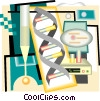 DNA strand with test tubes Vector Clipart illustration