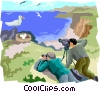 Vector Clip Art graphic  of a taking photo of seagull on