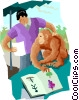 Vector Clip Art image  of a studying monkey behavior