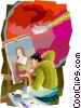 man painting picture Vector Clipart illustration