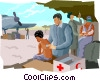Vector Clipart graphic  of a doctor checking patients