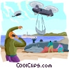 Vector Clipart graphic  of a Rescuing a whale