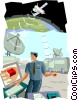 Vector Clipart graphic  of a satellite communication