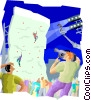 indoor wall climbing Vector Clipart illustration