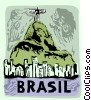 Jesus statue in Rio de Janeiro with a Toucan Vector Clipart picture