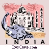 Taj Mahal India with elephant Vector Clipart illustration