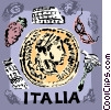 Italy Leaning Tower of Pisa and artifacts Vector Clip Art image