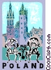 Vector Clip Art graphic  of a Towers of Mariacki Church
