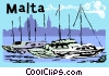 Malta cityscape horizon with yachts and harbor Vector Clipart picture