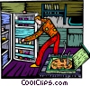 Vector Clipart image  of a man at the fridge