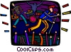 Vector Clipart image  of a rock band playing