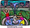 Vector Clipart illustration  of a playing at the fountain