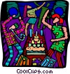 Vector Clipart image  of a birthday party