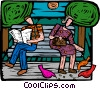 feeding pigeons at a park bench Vector Clipart picture