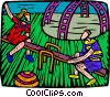 Vector Clipart graphic  of a playing on a teeter totter