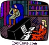 woman playing the piano Vector Clipart graphic