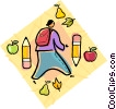 Vector Clipart illustration  of a Boy on his way back to school