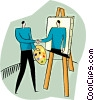 Vector Clip Art image  of a painter
