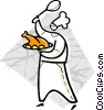 Vector Clip Art picture  of a chef with a turkey